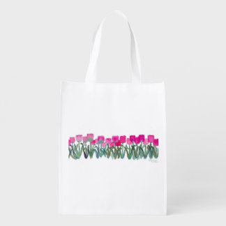 Pink Tulip Grove Grocery Bag