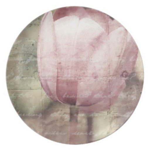 Pink Tulip Inspiration Melamine Plate