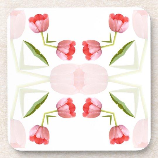 Pink Tulip Kaleidoscope Pattern Coaster