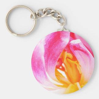 pink tulip basic round button keychain