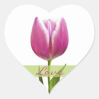 Pink Tulip Love Heart Wedding Envelope Seal