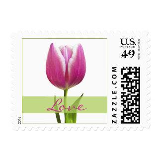Pink Tulip Love Wedding Postage