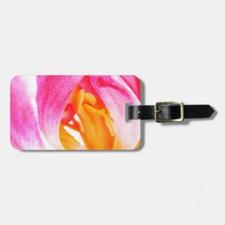 pink tulip luggage tag