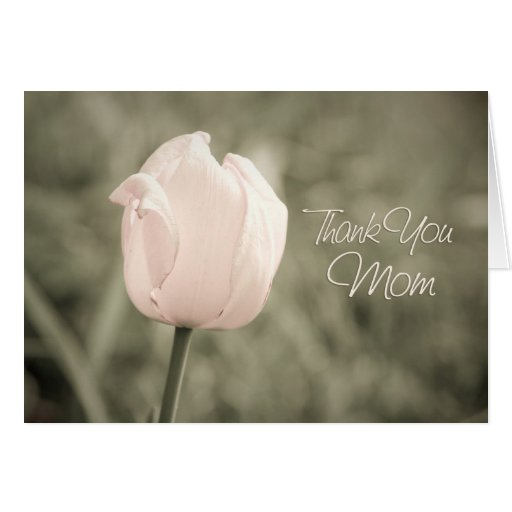 Pink Tulip Mom Wedding Day Thank You Card