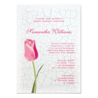 Pink Tulip on Crackle Paint Bridal Shower Card