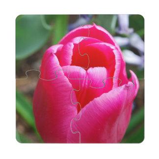 Pink Tulip Puzzle Coaster