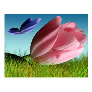 Pink Tulip Purple Butterfly Spring Post Card
