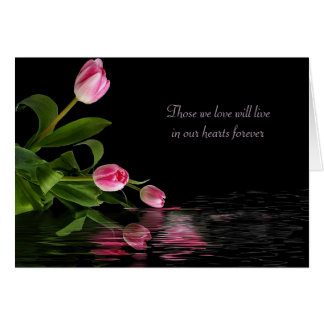 Pink Tulip reflection for sympathy Card