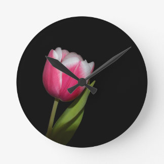 Pink Tulip Round Clock