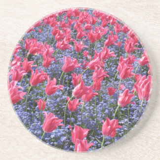 Pink tulip spring flower carpet  coaster