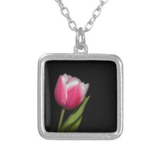 Pink Tulip Square Pendant Necklace