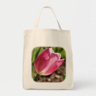 Pink Tulip Sunlight Floral Nature Tote Bag
