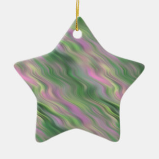 Pink Tulip Wavy Texture Double-Sided Star Ceramic Christmas Ornament