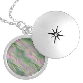 Pink Tulip Wavy Texture Silver Plated Necklace