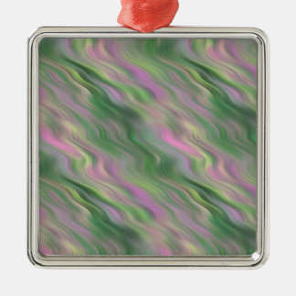 Pink Tulip Wavy Texture Square Metal Christmas Ornament