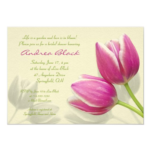 Pink Tulip Wedding Bridal Shower Invitation