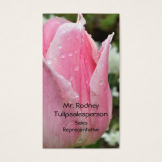 Pink tulip with raindrops business card