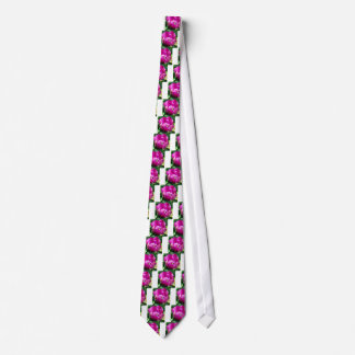 Pink tulip with water drops neck tie