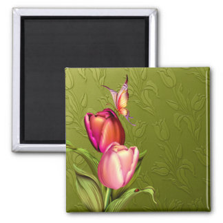 Pink Tulips 2 Inch Square Magnet