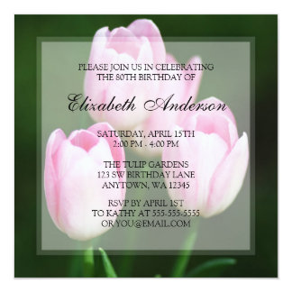 Pink Tulips 80th Birthday Party 5.25x5.25 Square Paper Invitation Card