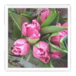 Pink Tulips Acrylic Tray