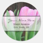 Pink Tulips Address Label Classic Round Sticker