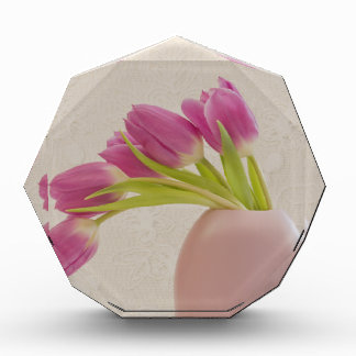 Pink Tulips And Lace Acrylic Award