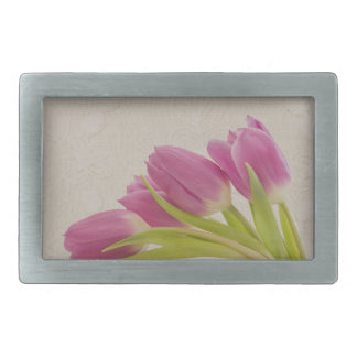 Pink Tulips And Lace Belt Buckle
