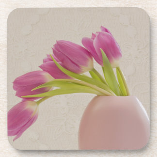 Pink Tulips And Lace Coasters