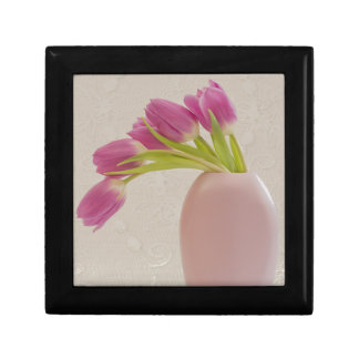 Pink Tulips And Lace Keepsake Box