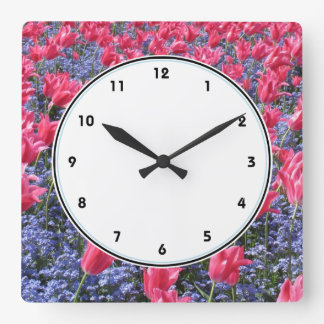 Pink tulips and purple flowers photography clock