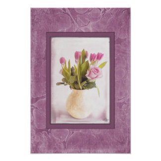 Pink Tulips and Roses on Archival Heavyweight Matt Poster