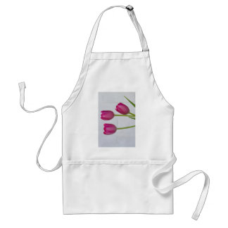 Pink Tulips and White Brick Wall Adult Apron