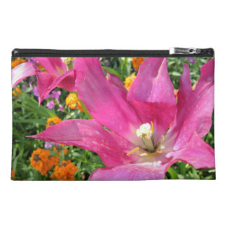 Pink tulips travel accessory bags
