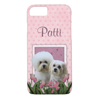 Pink Tulips - Bichon and Maltese iPhone 7 Case