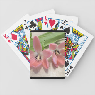 Pink Tulips Bicycle Playing Cards