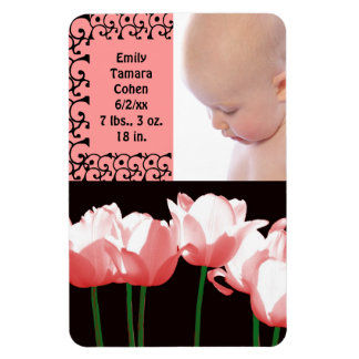 Pink Tulips Birth Announcement Photo Magnet