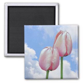 Pink Tulips Blue Sky Floral Magnet