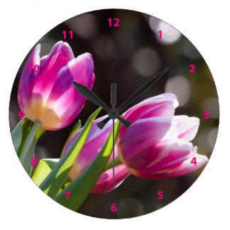 Pink Tulips Bokeh Large Clock