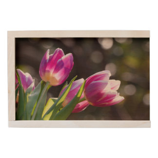 Pink Tulips Bokeh Wooden Keepsake Box