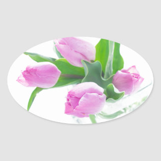Pink tulips bouquet in vase isolated ON white back Oval Sticker