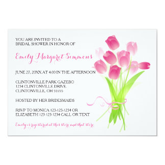Pink Tulips - Bridal Shower Invitation
