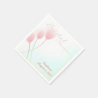 Pink Tulips Bridal Shower Paper Napkins