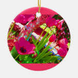 Pink Tulips Christmas Ornaments
