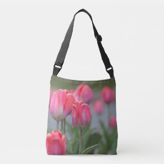 Pink tulips crossbody bag