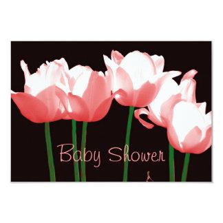Pink Tulips Custom Baby Shower Invitation