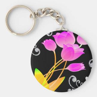 Pink Tulips Diamond Like Scroll Sparkle Keychain