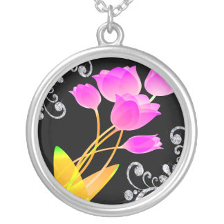 Pink Tulips Diamond Like Scroll Sparkle Silver Plated Necklace