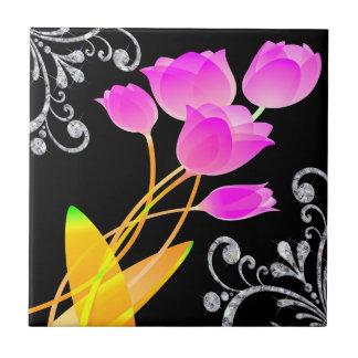 Pink Tulips Diamond Like Scroll Sparkle Tile