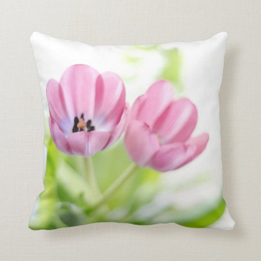 Pink Tulips Drenched In Light Throw Pillow